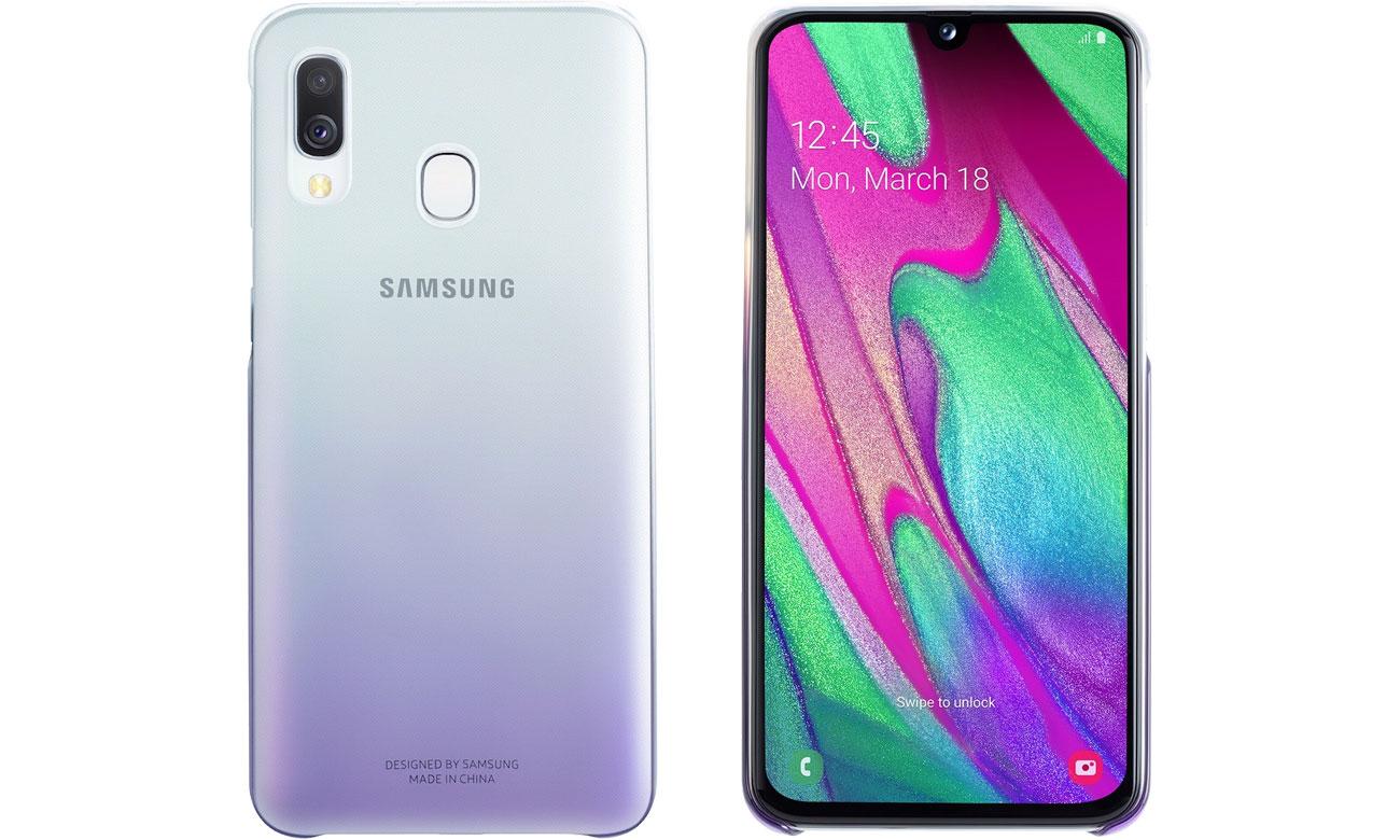 Etui Samsung Gradation cover do Galaxy A40 Fioletowe EF-AA405CVEGWW