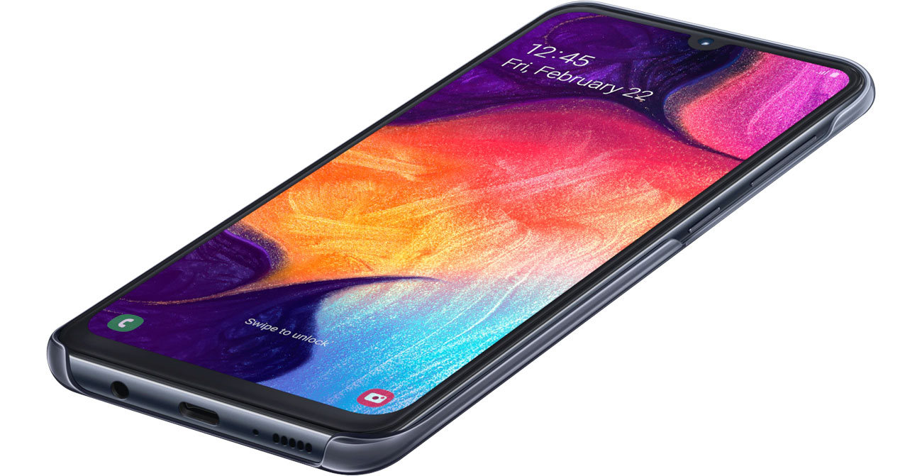 Etui Samsung Gradation cover do Galaxy A50 Czarne Dopasowanie