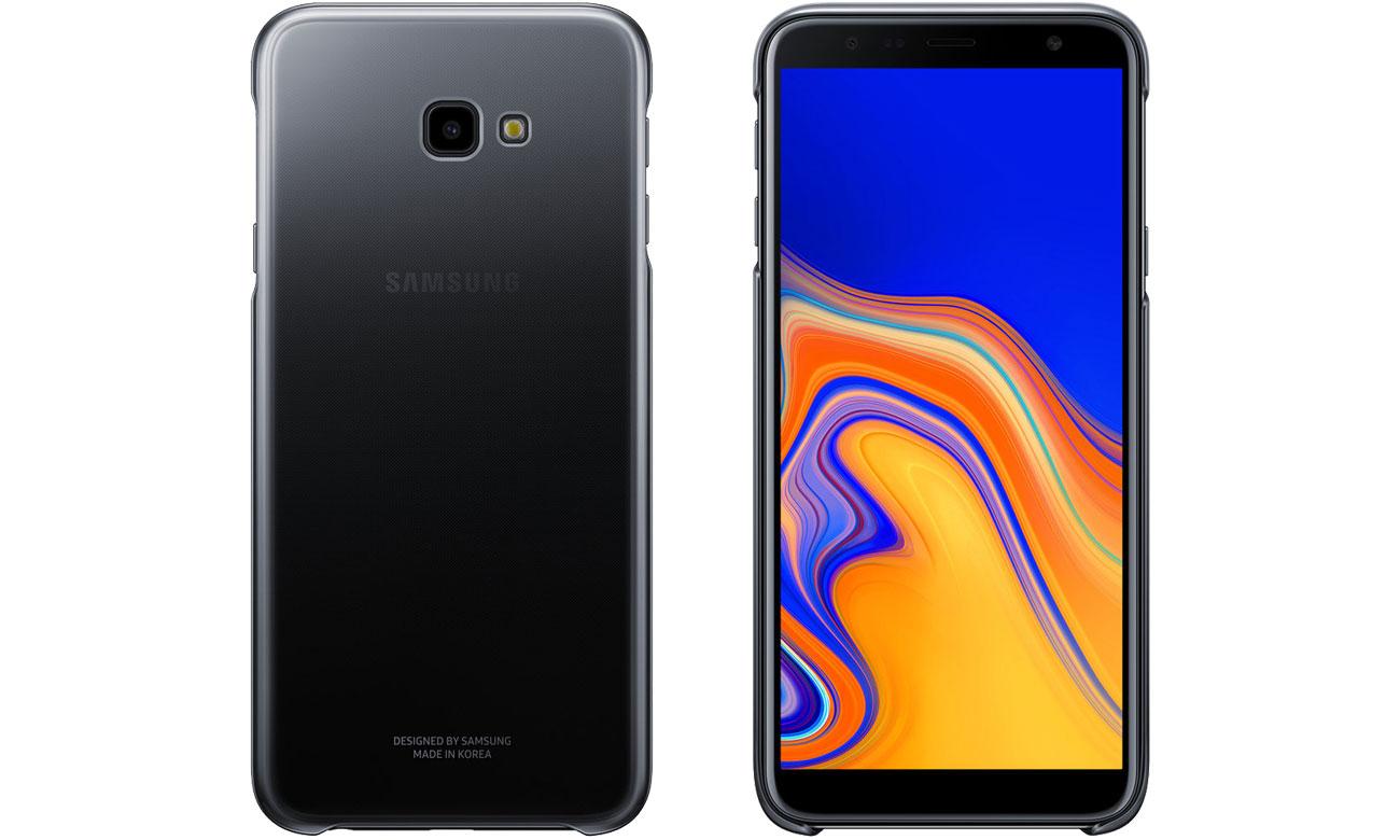 Etui Samsung Gradation cover do Galaxy J4+ Czarne Przód i tył