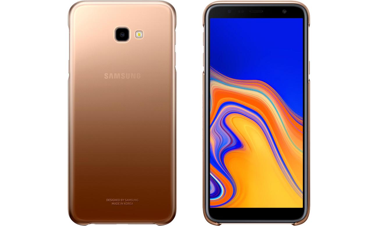 Etui Samsung Gradation cover do Galaxy J4+ złote Przód i tył