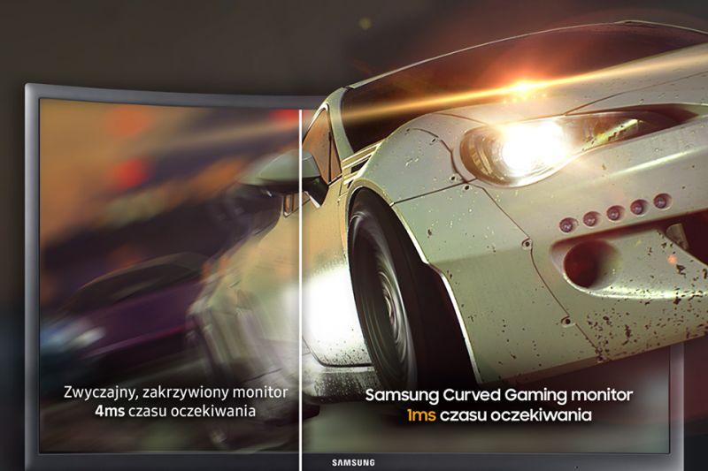 Samsung Zakrzywiony i super szybki. Czas reakcji monitora to jedynie 1 ms!