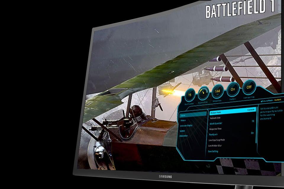 Samsung Realistyczne wrażenia podczas gry. Menu ekranowe (OSD)