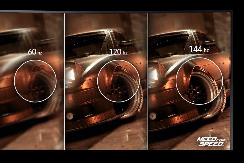 Samsung Niezakłócona gra bez zacinania. Częstotliwość odświeżania 144 Hz