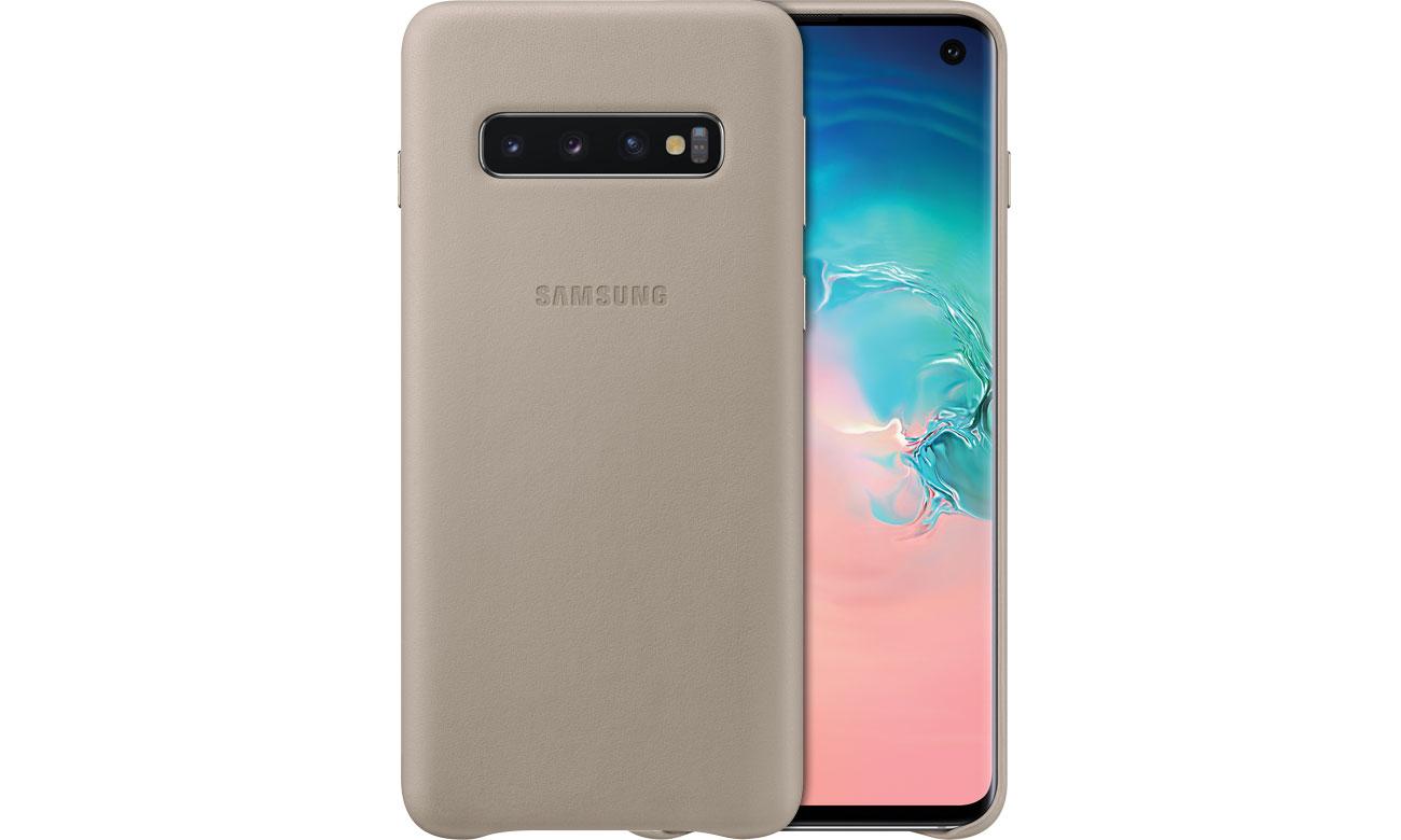 Etui Samsung Leather Cover do Galaxy S10 szare