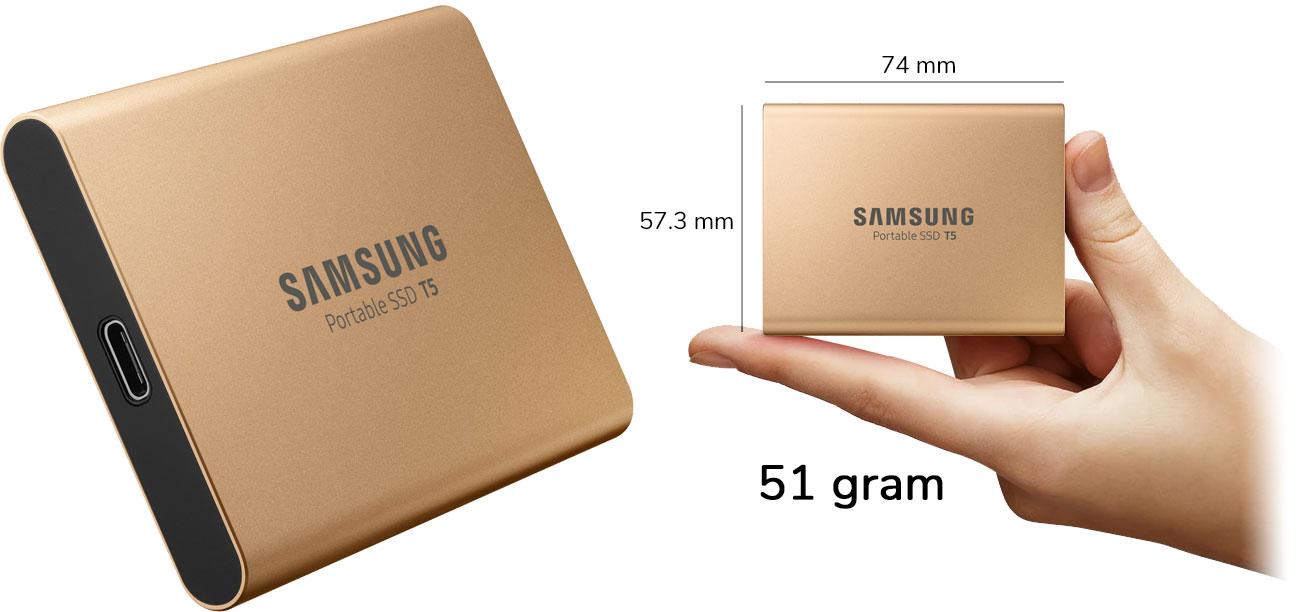 Dysk przenośny 1TB Samsung Portable SSD T5 USB 3.1 Gold MU-PA1T0G/EU