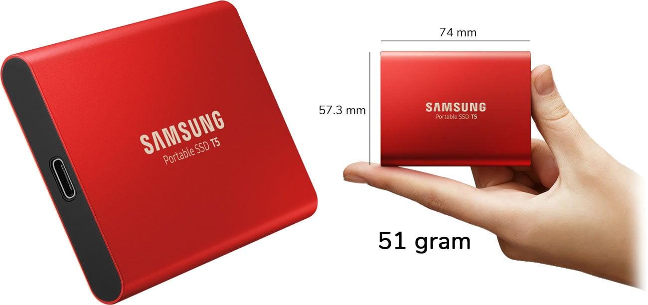 Dysk przenośny 1TB Samsung Portable SSD T5 USB 3.1 Red MU-PA1T0R/EU