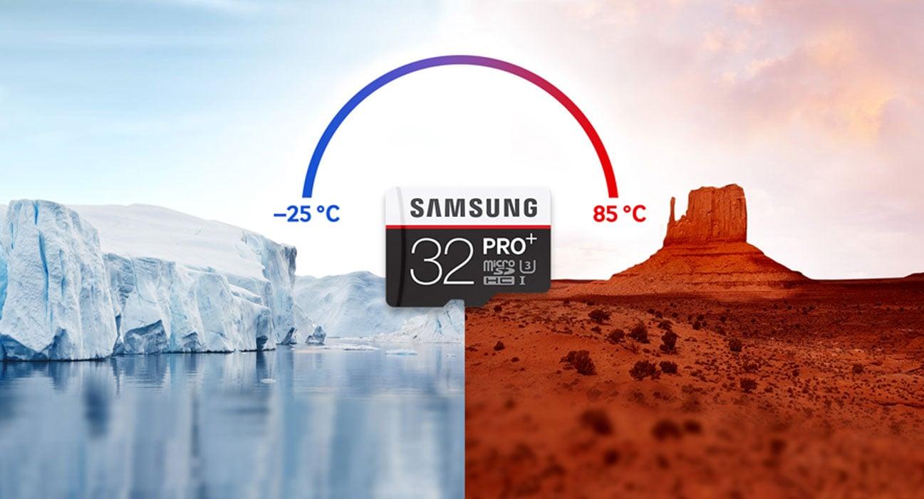 Samsung 32GB microSDHC Pro+ odporność na temperaturę