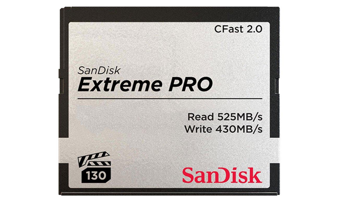 SanDisk Extreme PRO CFAST 2.0 Odczyt 525 MB/s i zapis 430 MB/s