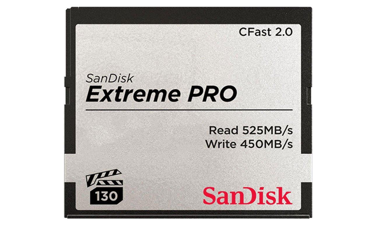 SanDisk Extreme PRO CFAST 2.0 Odczyt 525 MB/s i zapis 450 MB/s