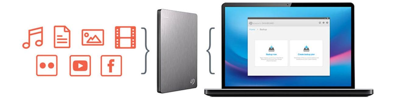 Seagate 2TB Backup Plus + 200GB OneDrive 2,5'' czarny