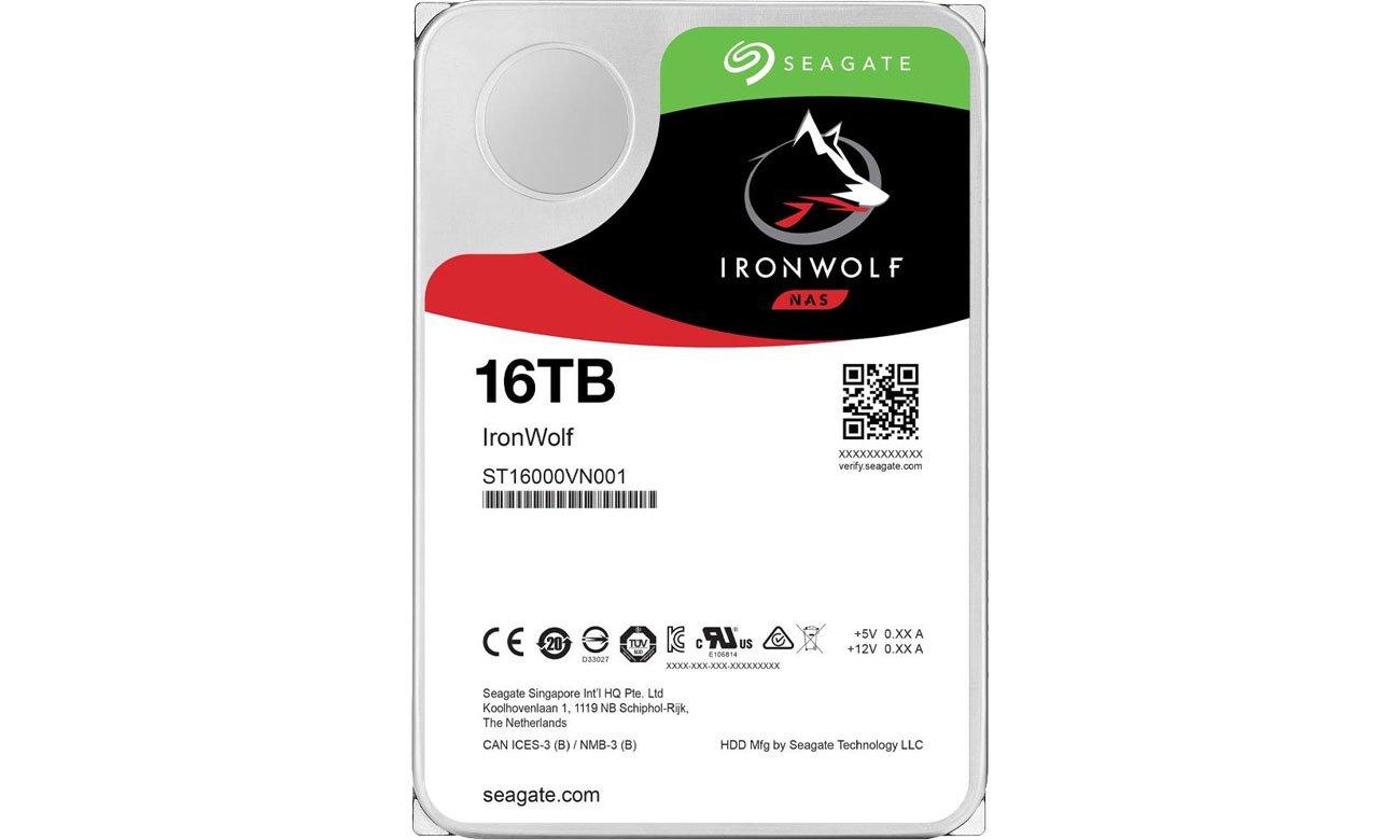 Dysk HDD Seagate 16TB 7200obr. 256MB Ironwolf ST16000VN001