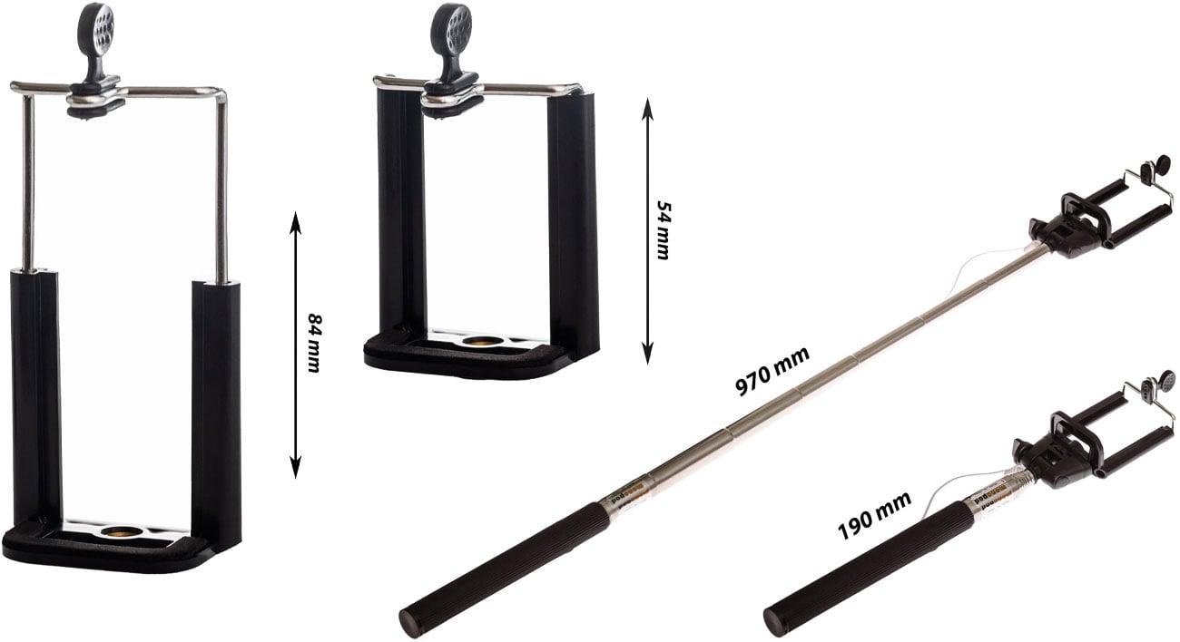 Selfie stick SHIRU SSM-02 Wymiary i regulacja