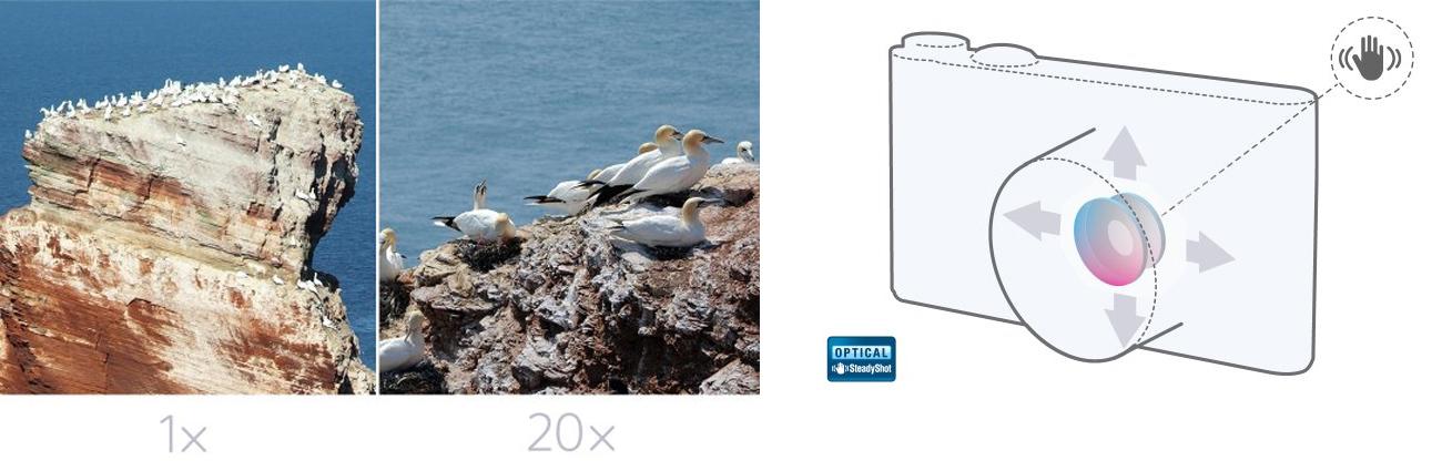 Sony DSC-WX350 Zoom i Stablilizacja