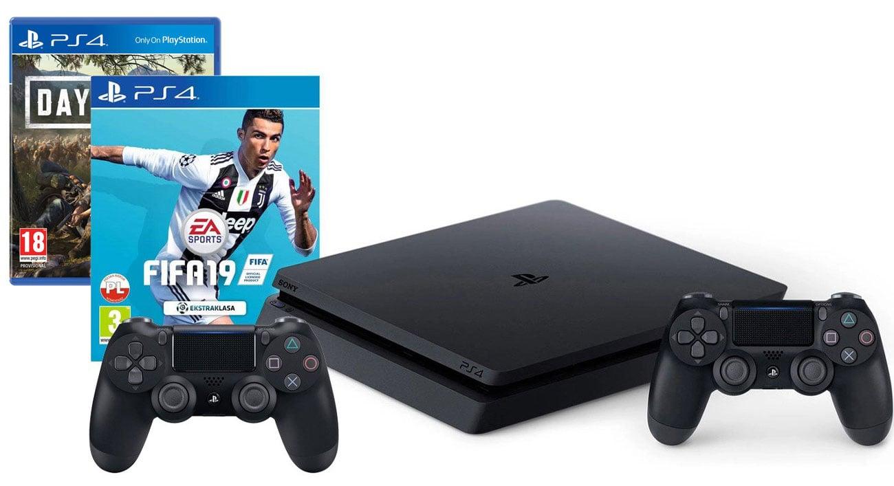 PlayStation 4 w zestawie z grami FIFA 19 i Days Gone oraz dodatkowym padem
