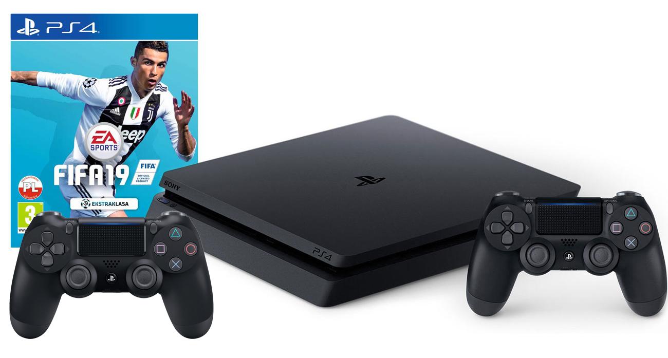 PlayStation 4 w zestawie z grą FIFA 19 i dodatkowym padem