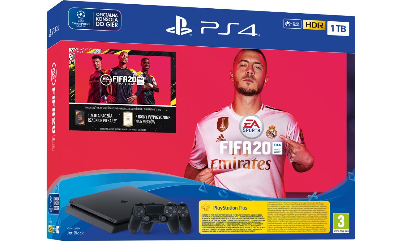 PlayStation 4 w zestawie z grą FIFA 20 i dodatkowym padem