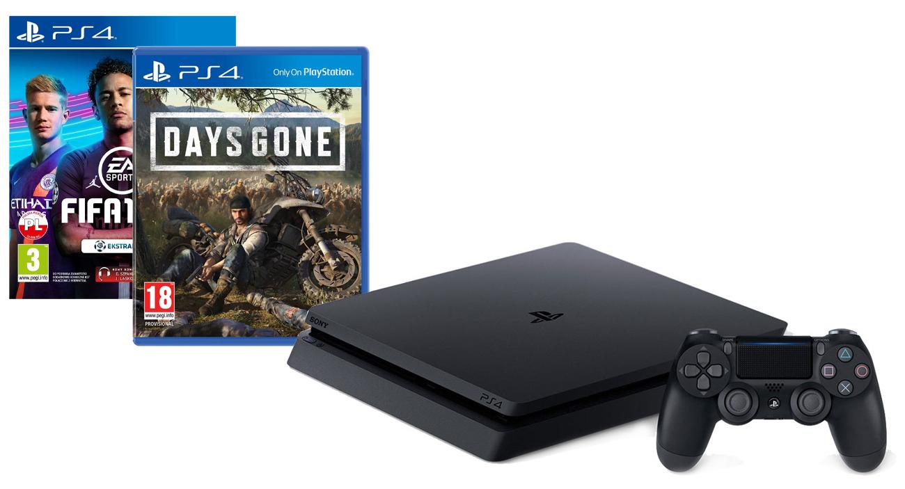 PlayStation 4 w zestawie z grami FIFA 19 oraz Days Gone
