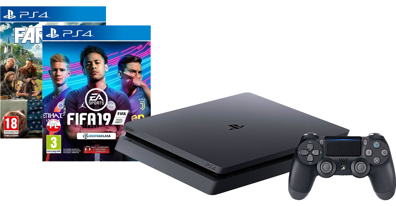 PlayStation 4 w zestawie z grami FIFA 19 i Far Cry 5