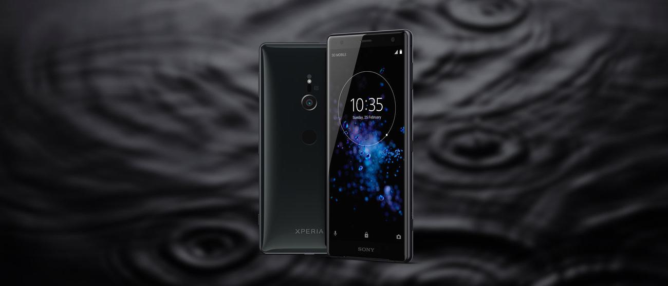 Sony Xperia XZ2 płynna czerń smukła opływowa obudowa ze szkła i metalu