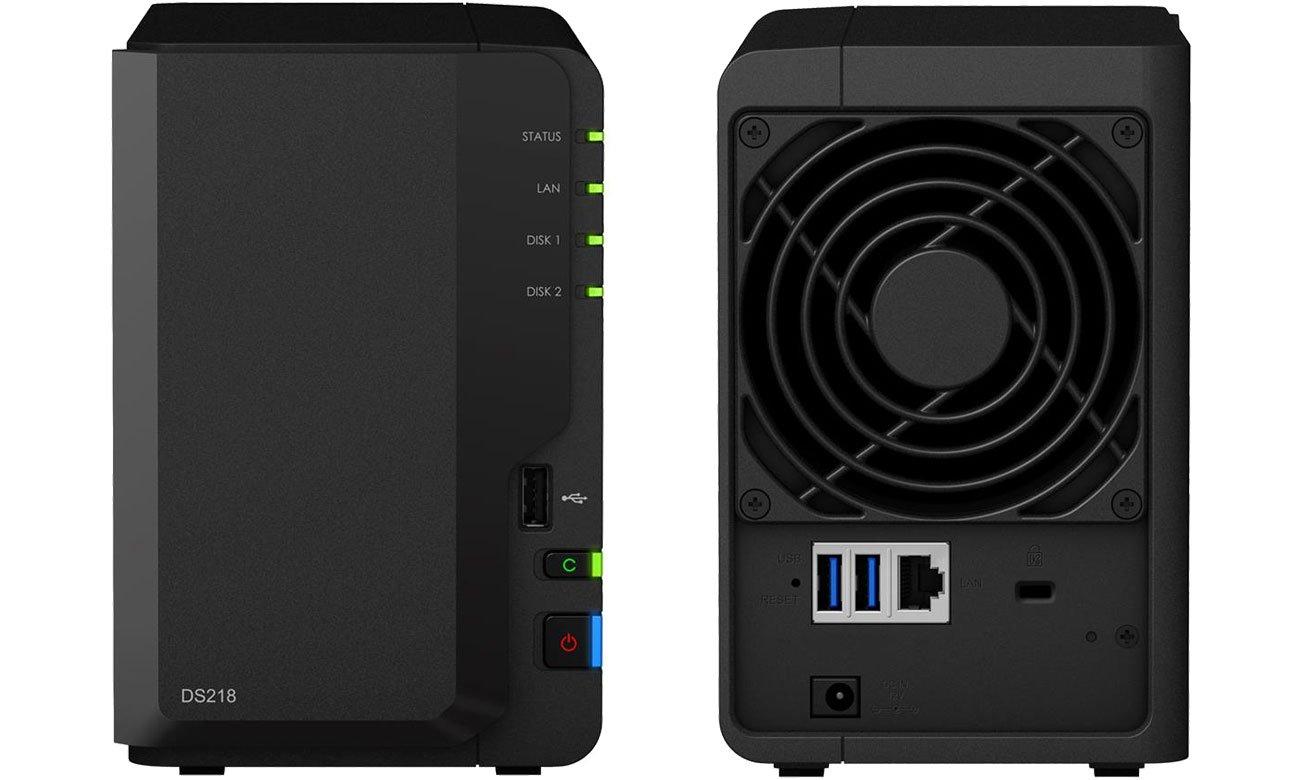 Synology DiskStation DS218 - Przód, tył
