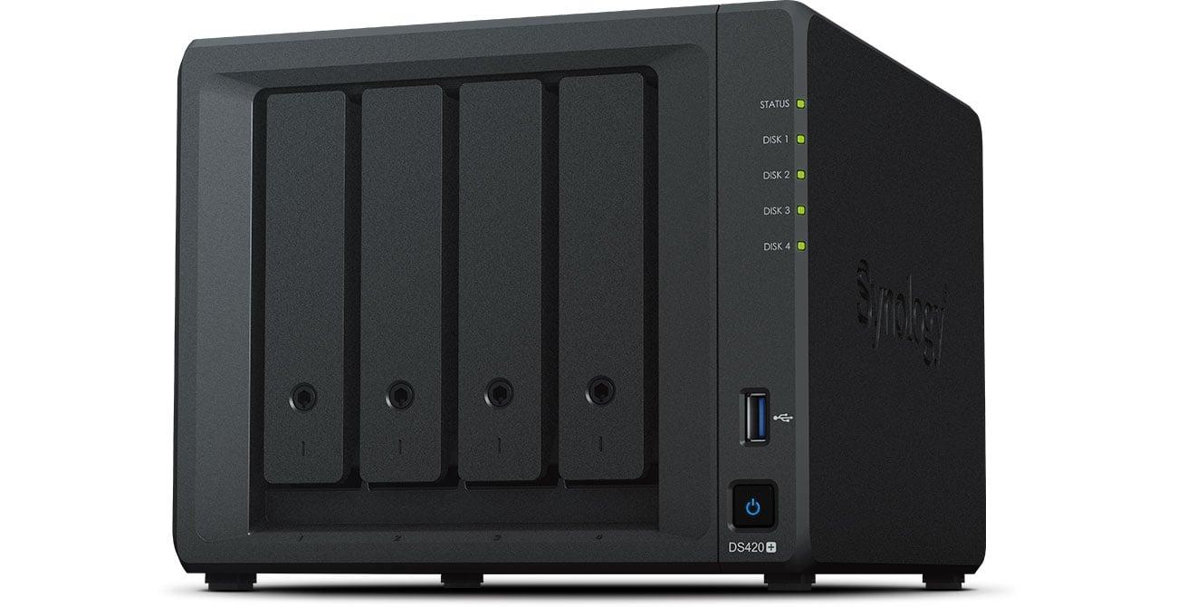 Dysk sieciowy NAS Synology DS420+ 4xHDD, 2x2-2.9GHz, 2GB, 2xUSB, 2xLAN