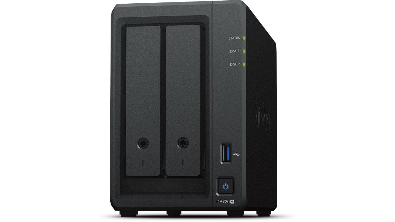 Dysk sieciowy NAS Synology DS720+ 2xHDD, 4x2-2.7GHz, 2GB, 2xUSB, 2xLAN