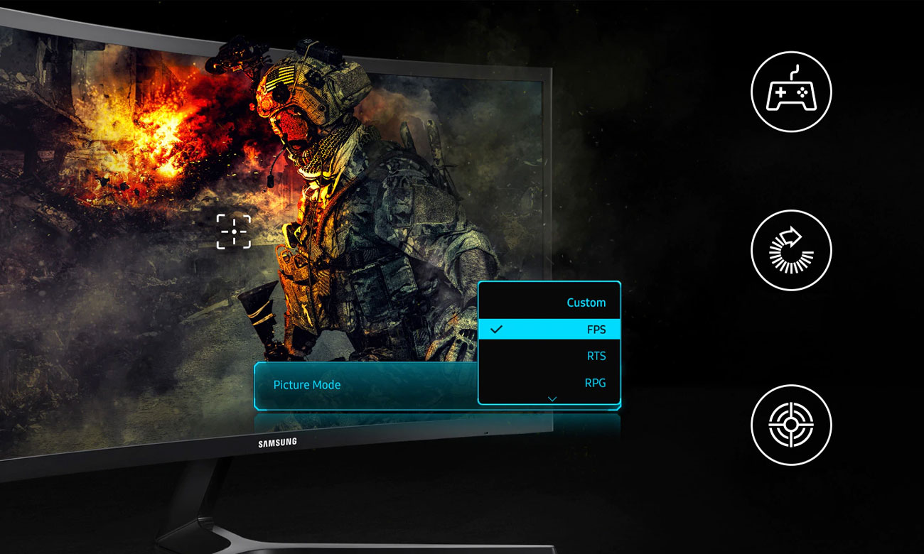 Samsung CRG50 Tryby do gier