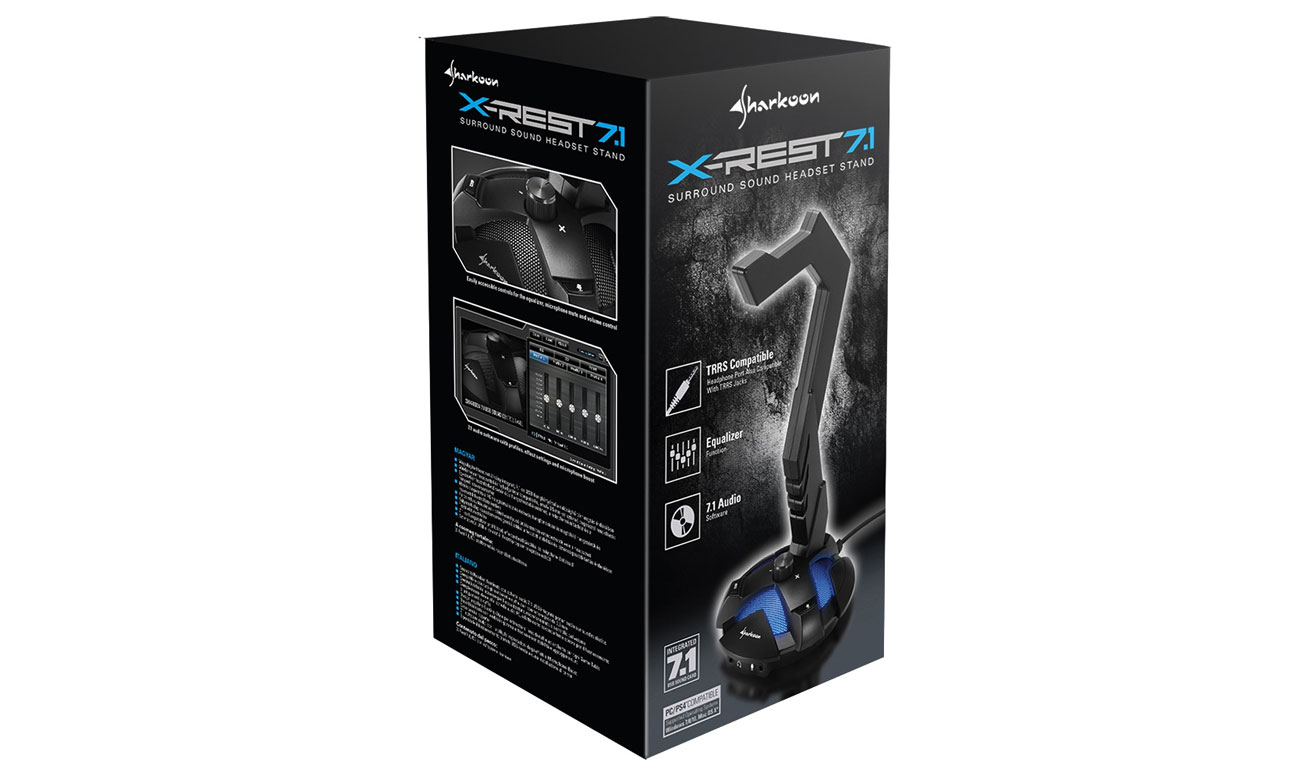 Stojak na słuchawki z kartą dźwiękową Sharkoon X-Rest 7.1