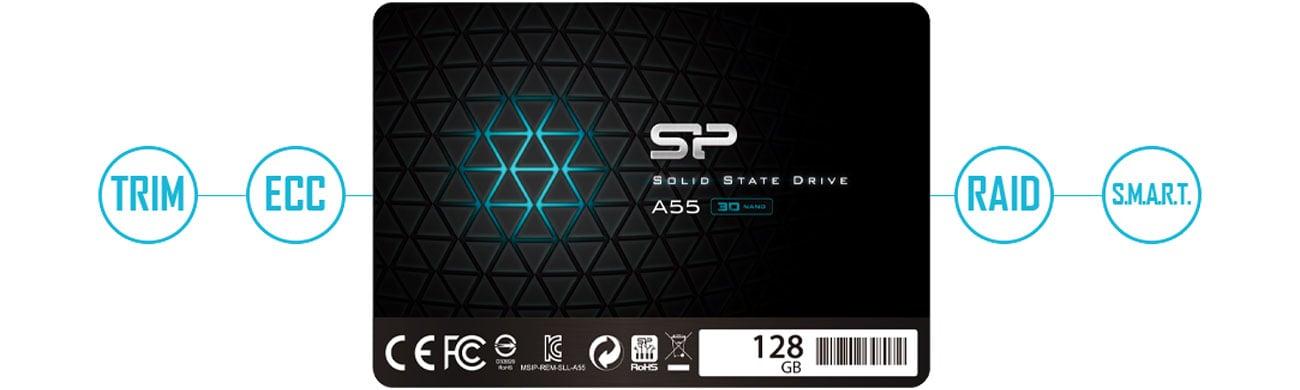 Die Festplatte mit der S.M.A.R.T. Technologie SILICON POWER SSD A55 2,5 Zoll 128GB SATA