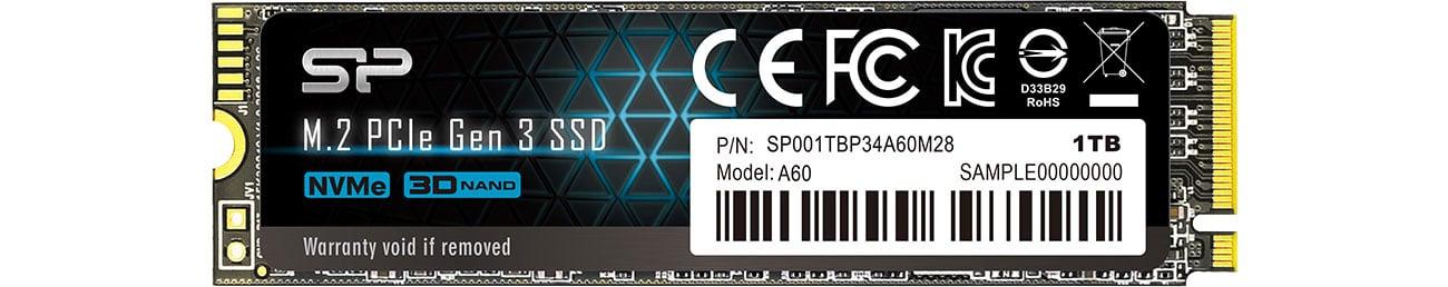 Dysk SSD Silicon Power 1TB M.2 PCIe NVMe A60 SP001TBP34A60M28
