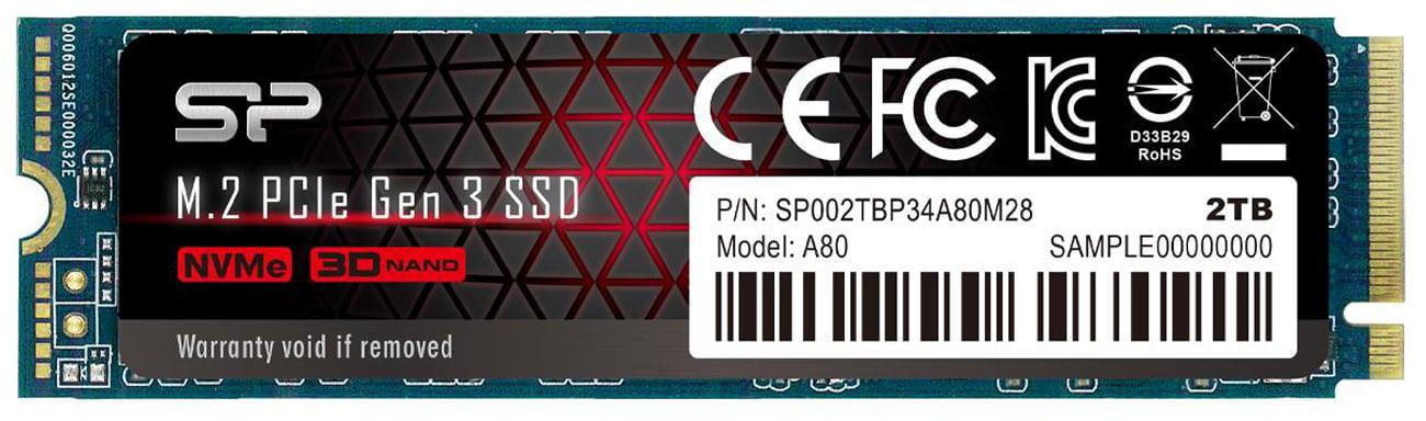 Silicon Power 2TB M.2 PCIe Gen3 x4 NVMe 2280 A80 SP002TBP34A80M28