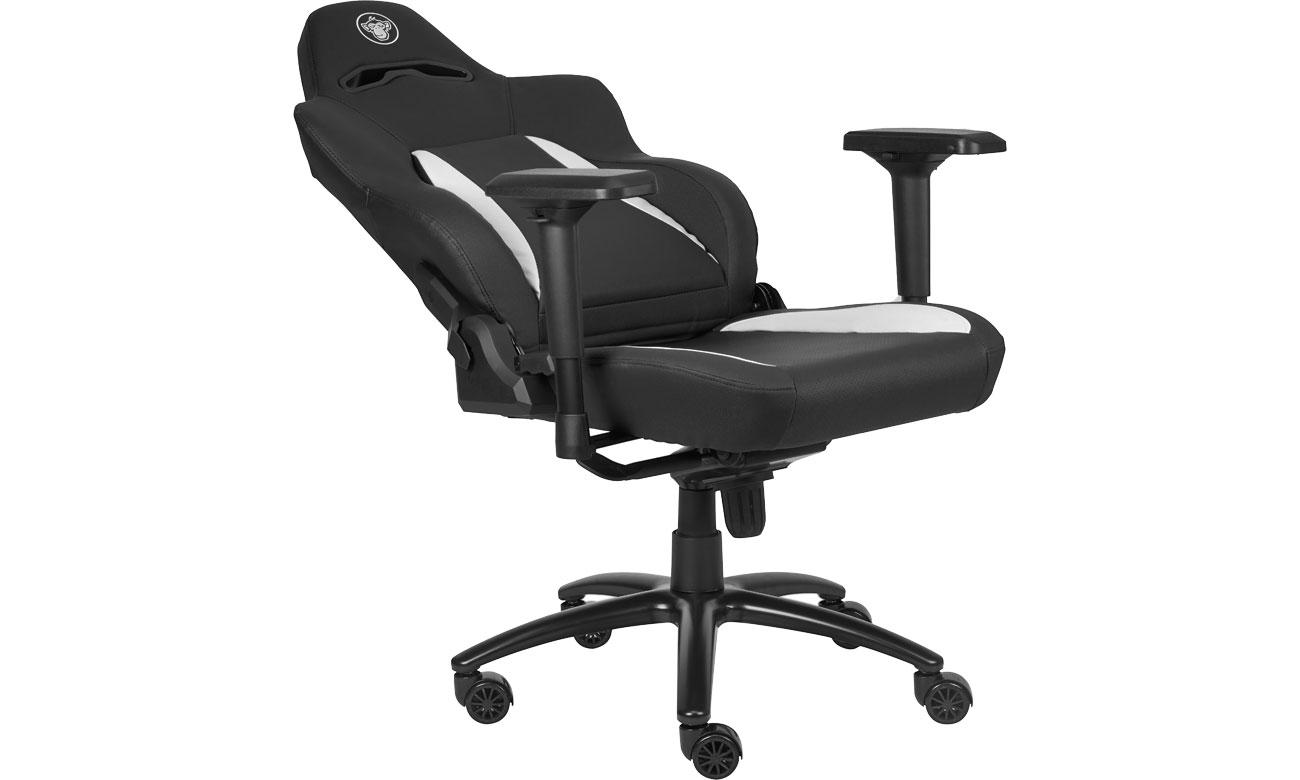 Der Sessel mit einem sportlichen Design aus Kunstleder SILVER MONKEY SMG-700 Elite Gaming Stuhl schwarz-weiß