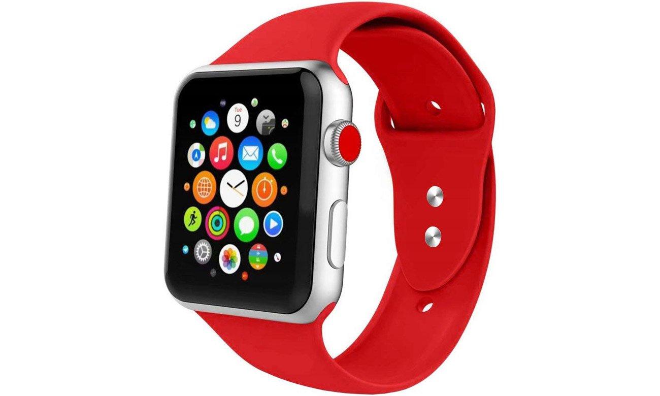 Gumowy pasek Tech-Protect Iconband Czerwony do Apple Watch 42-44mm