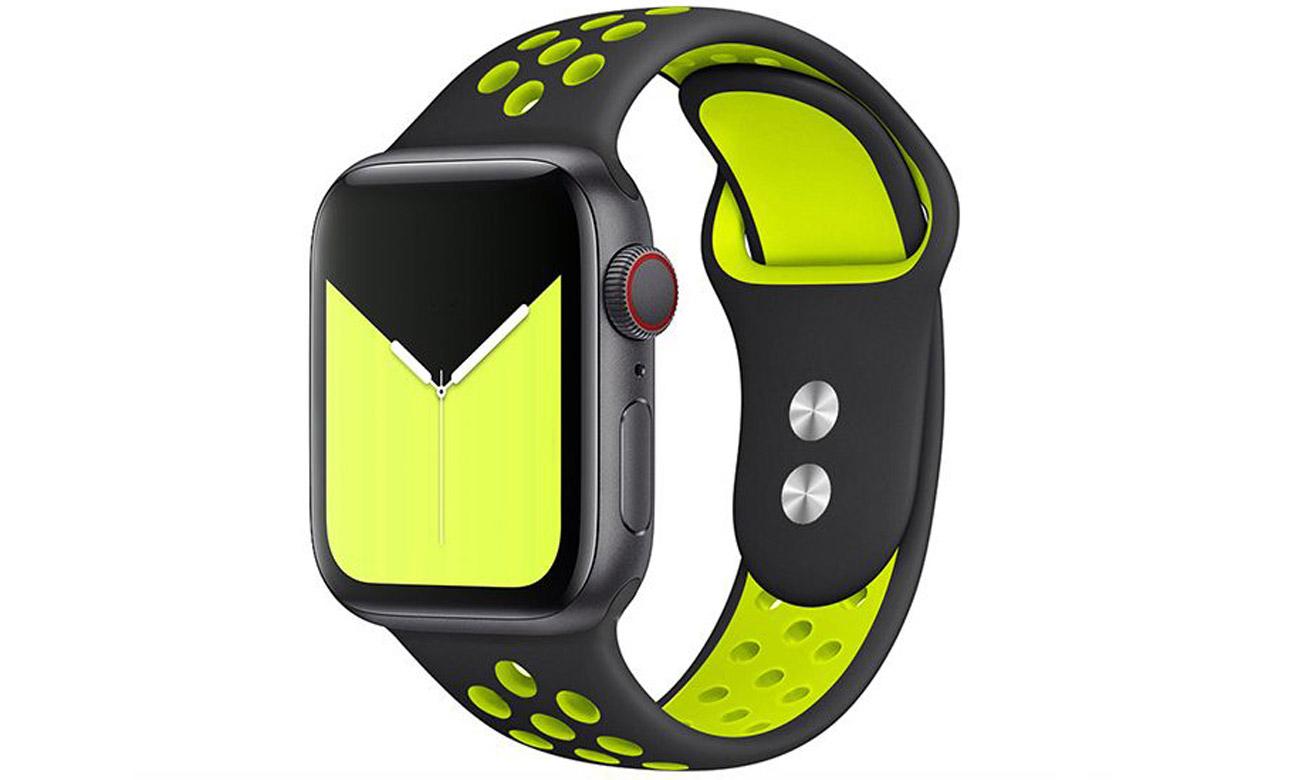 Pasek Tech-Protect Softband Czarno-limonkowy do Apple Watch 42-44mm