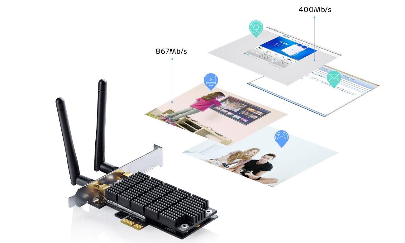Karta sieciowa PCI-E TP-LINK Archer T6E - Dwa pasma transmisji