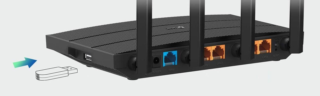 TP-Link Archer C6U - Złącza LAN, WAN, USB