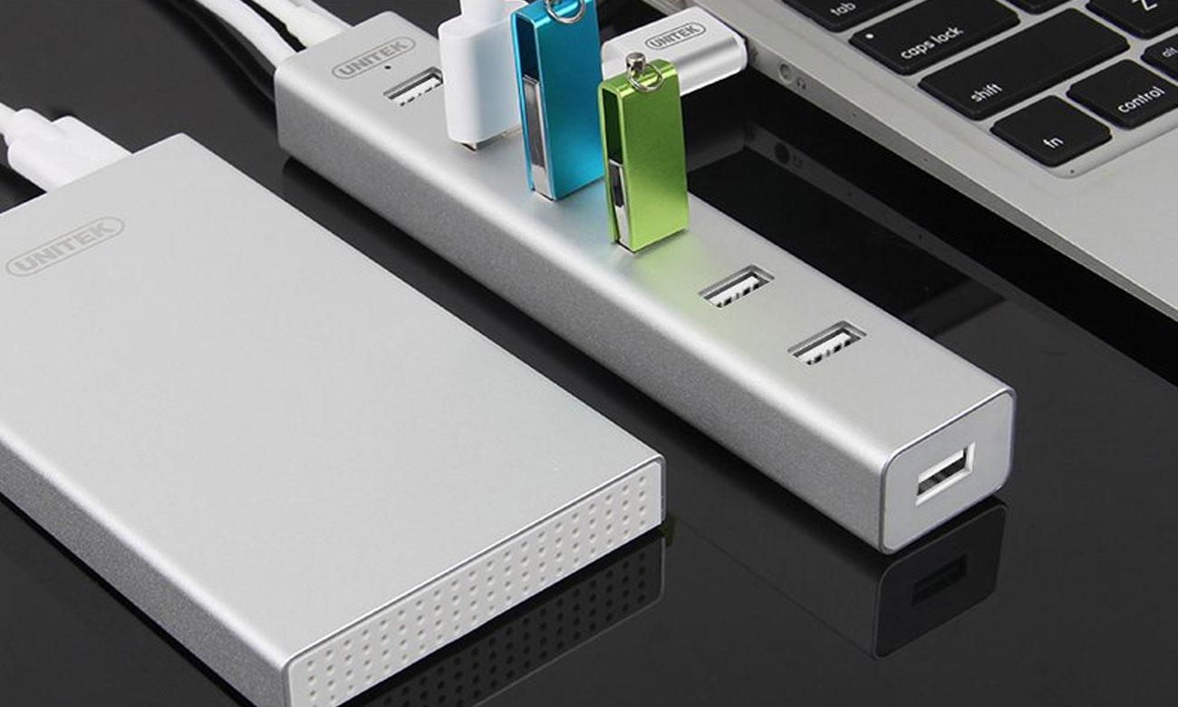 Hub USB Unitek 7x USB 2.0 + zasilacz