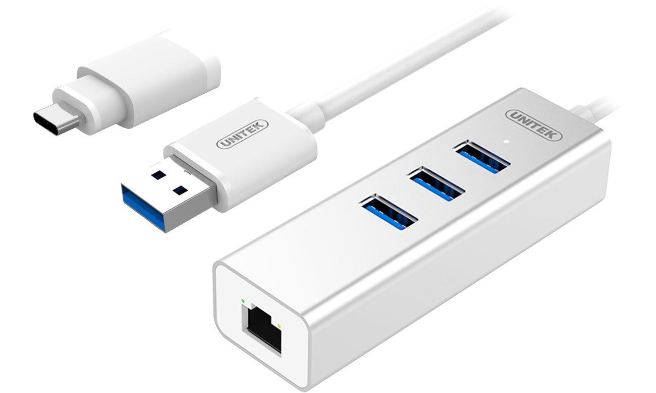 Unitek HUB USB-C - 3x USB 3.0 - Gigabit Ethernet Y-3083B
