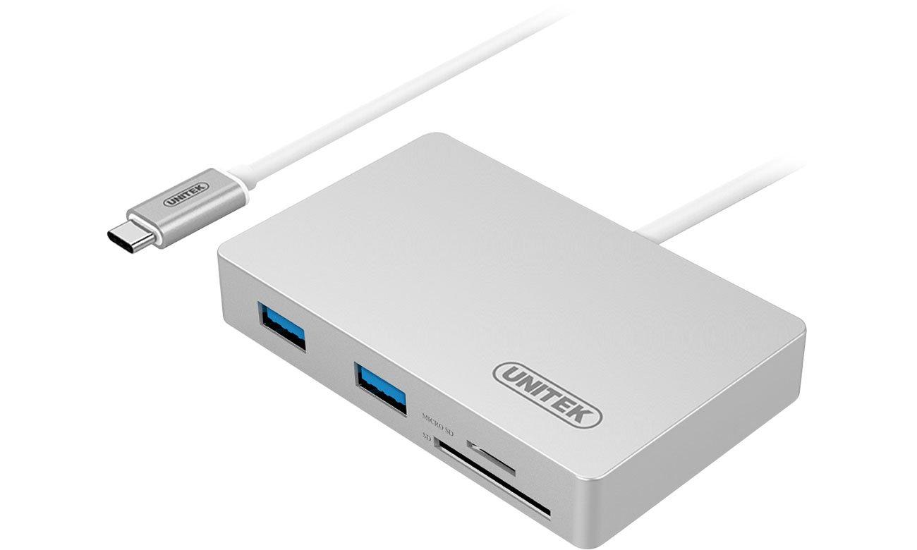 Unitek HUB USB-C - 3x USB 3.0 + czytnik kart + PD Y-9319
