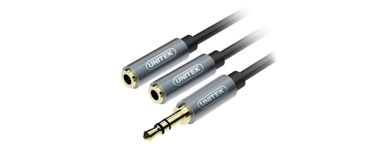 Unitek Rozgałęźnik minijack M 2 x minijack F wysoka jakość dźwięku bez zakłóceń