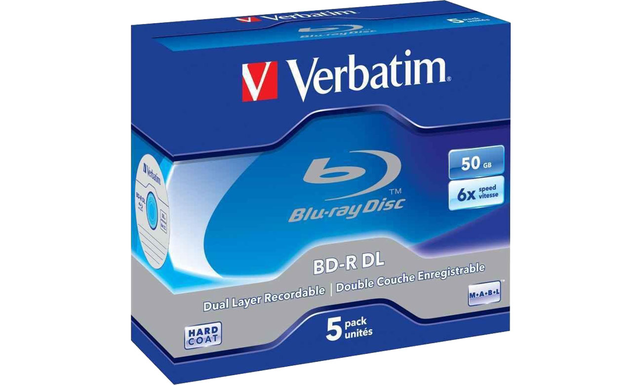 Płyta BD-R Verbatim 50GB 6x BluRay Dual Layer BOX 5szt. 43748