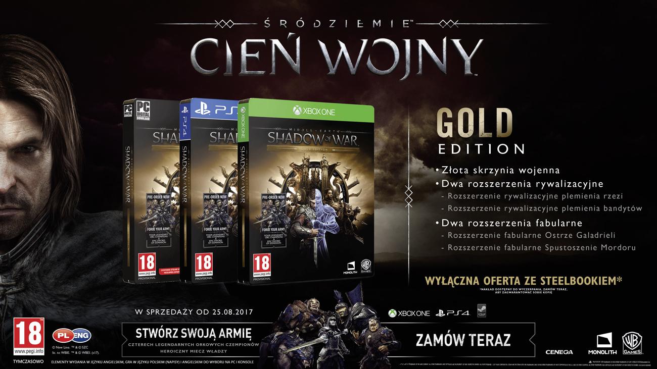 Zawartość Złotej Edycji gry Śródziemie: Cień Wojny
