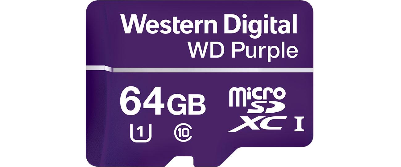 Karta pamięci WD 64GB Purple microSDXC Class 10 UHS-I WDD064G1P0A
