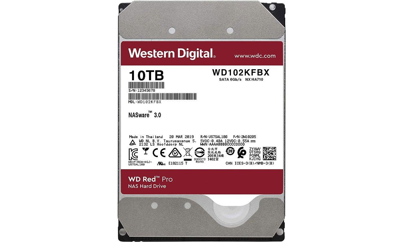 Dysk HDD WD RED PRO 10TB 7200obr. 256MB WD102KFBX
