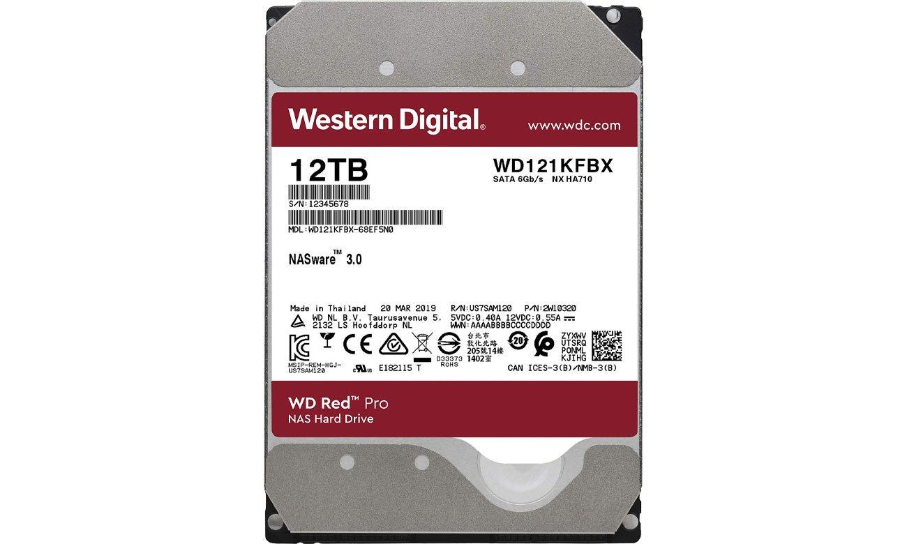 Dysk HDD WD RED PRO 12TB 7200obr. 256MB WD121KFBX