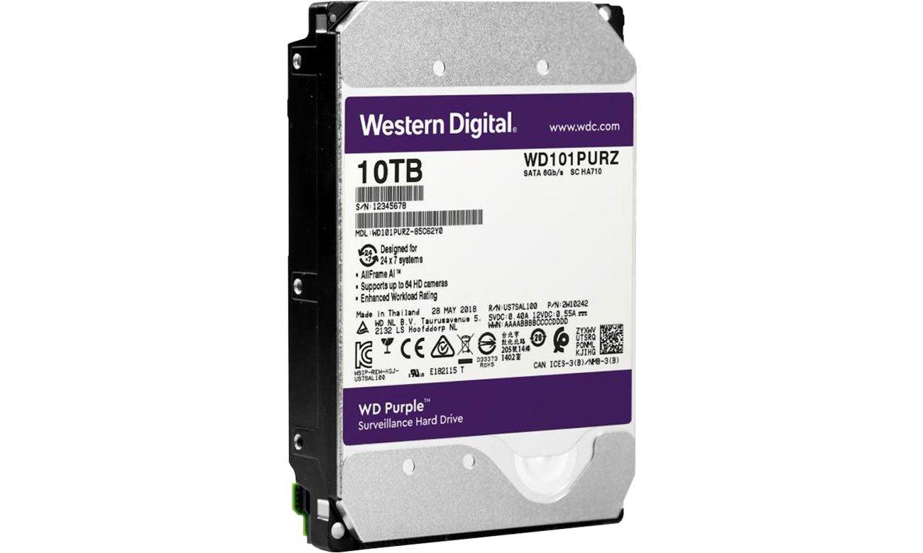 Dysk HDD WD 10TB 7200obr. 256MB PURPLE AllFrame AI WD101PURZ