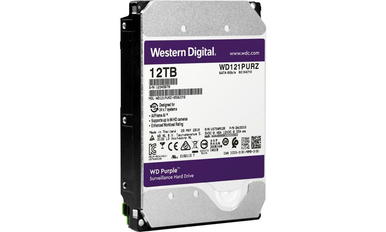 Dysk HDD WD 12TB 7200obr. 256MB PURPLE AllFrame AI WD121PURZ