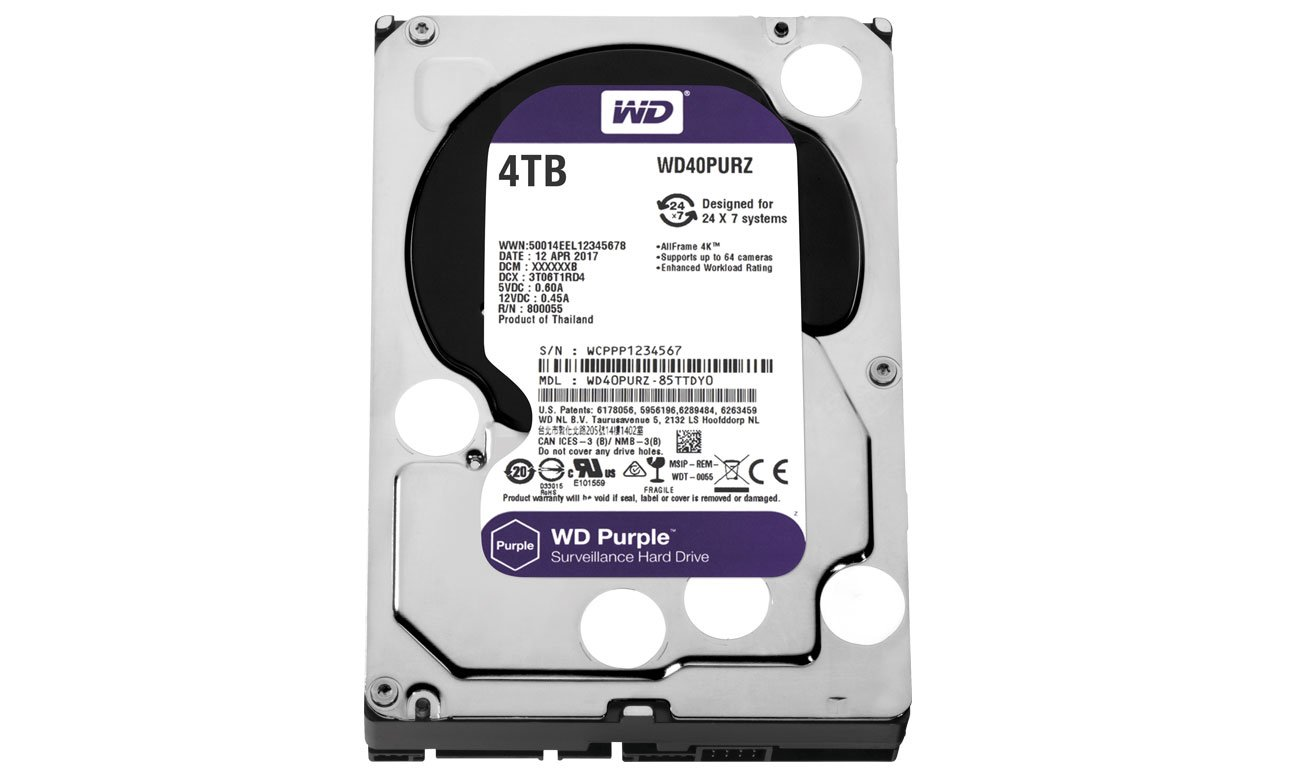 WD 4TB IntelliPower 64MB PURPLE idealne dyski do monitoringu pojemność 6tb