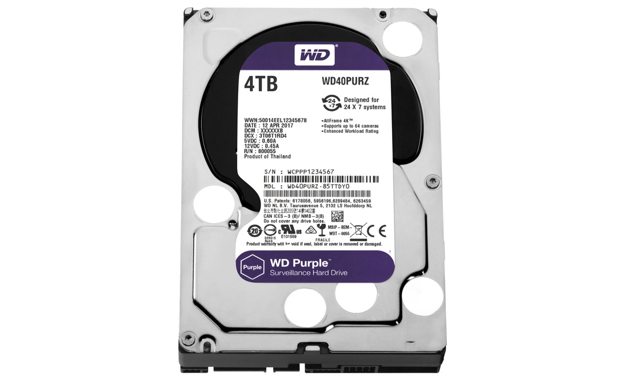WD 4TB IntelliPower 64MB PURPLE obniżone zużycie energii technologia intelliseek