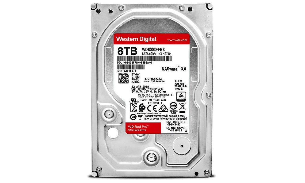 WD 4TB 7200obr. 256MB RED PRO WD8003FFBX Stworzony dla optymalnej wydajności w środowiskach NAS